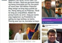 Facebook post of a netizen who got bashed