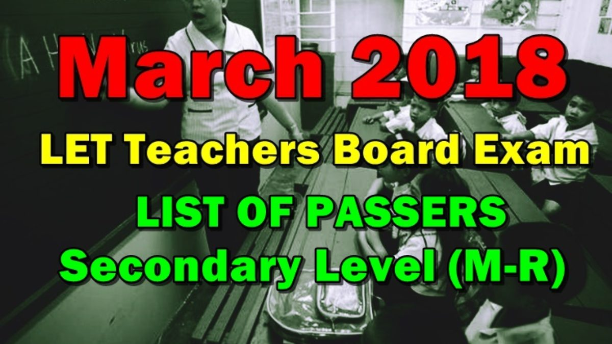 List Of Passers March 2018 Let Teachers Board Exam Secondary Level M R