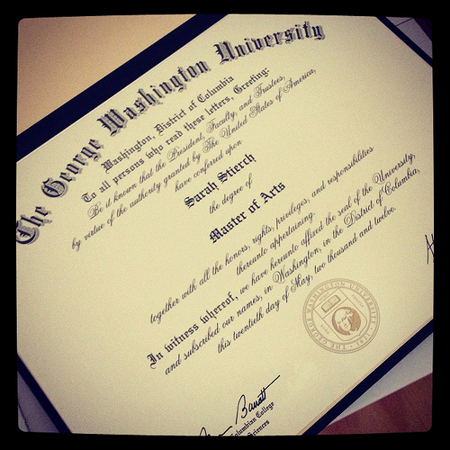 The owner of this diploma was sent home. But she didn't allow it to reduce her to the status of a failure. She went back and finished.