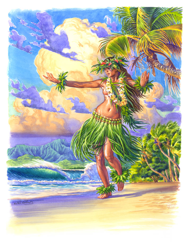 Surfer Girl Bali Wallpaper Grass Skirt Hula Girl Dancing On Island Beach Art Phil