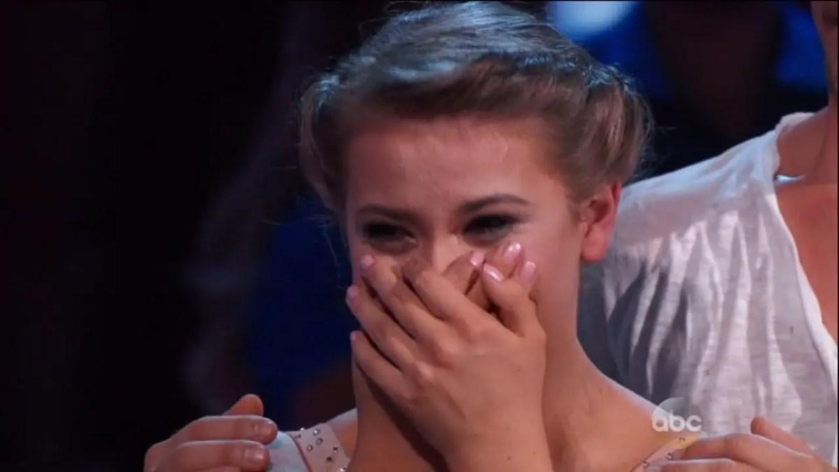 An emotional Bindi Irwin in Dancing With The Stars
