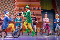 Christopher Sutton as Buddy, with a supporting ensemble of elves, in the Walnut Street Theatre's ELF (Photo credit: Mark Garvin)