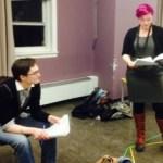 Lena Barnard and Meredith Sonnen rehearse Behind Bergman