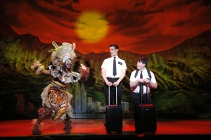 Phyre Hawkins, Mark Evans, Christopher John O'Neill THE BOOK OF MORMON First National Tour © Joan Marcus, 2013