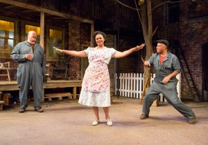 Brian Anthony Wilson, Melanye Finister, and Michael Genet in FENCES at People's Light (Photo credit: Mark Garvin)