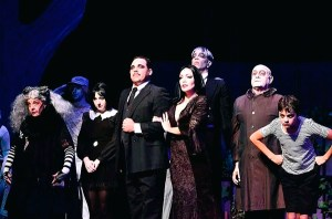 The Addams Family (Susan Wefel, Lauren Cupples, Jeff Coon, Jennie Eisenhower, Bill Vargus, Nicholas Saverine, and JD Triolo). Photo by Chris Jordan.