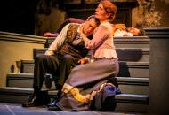 Jared Reed as Hamlet and Jennifer Summerfield as Horatio in Hedgerow Theatre's HAMLET. Photo by Kyle Cassidy.