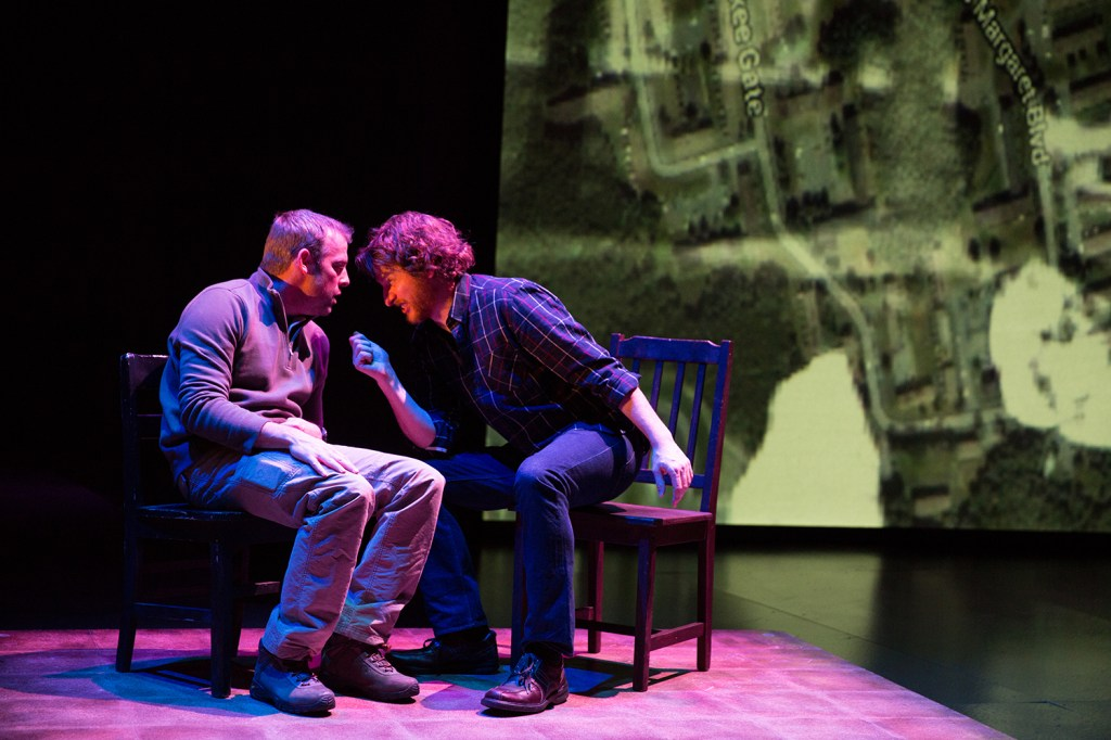 Ian Merrill Peakes (left) and Harry Smith in THE BODY OF AN AMERICAN. Photo by Alexander Ilziliaev.