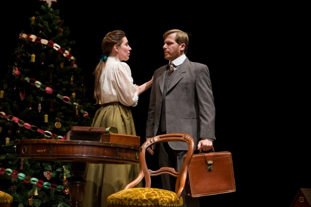 Kim Carson and David Arrow as Nora and Torvald Helmer in DTC's NORA (Photo credit: Matt Urban, Mobius New Media)