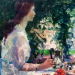 An excellent example of traditional impressionism in Tea Time Abroad by Annie Traquair Lang