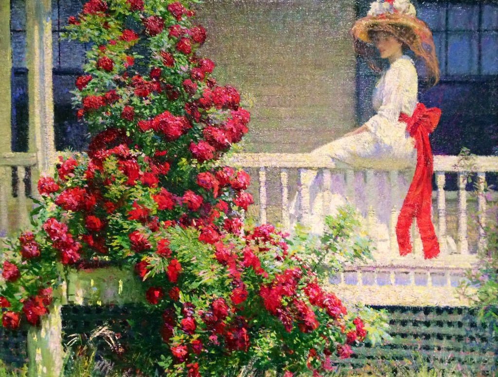 In The Crimson Rambler by Philip Leslie Hale, the female subject is just as much a decoration as the flowers