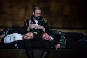 Jered McLenigan, Ed Swidey, and Keith Conallen in ROSENCRANTZ AND GUILDENSTERN ARE DEAD. Photo by Alexander Iziliaev.