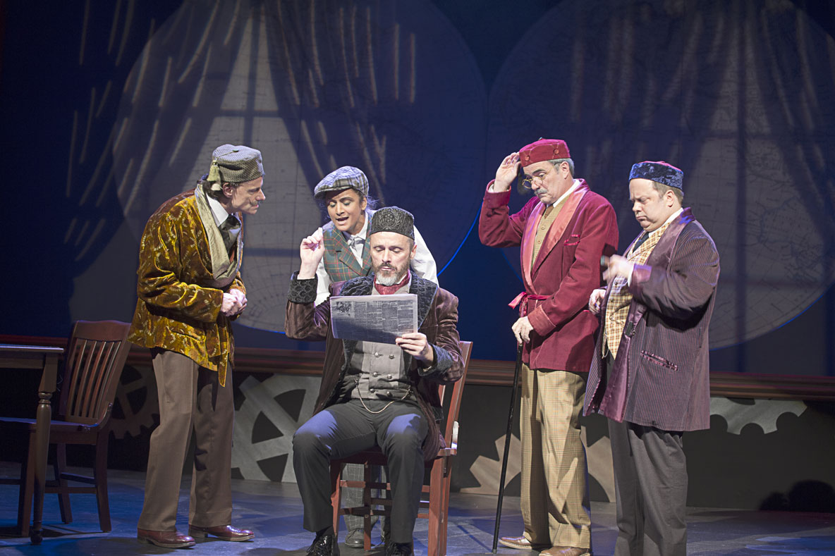 The cast of AROUND THE WORLD IN 80 DAYS: Christopher Patrick Mullen, Anita Vasan, Richard B. Watson, Eric Hissom, and Brad DePlanche. Photo by Lee A. Butz.