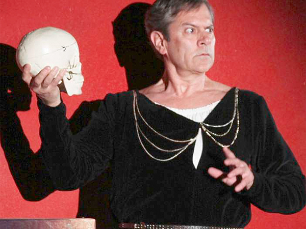 Leonard Haas in I HATE HAMLET at Montgomery Theater. Photo by Angela McMichael.