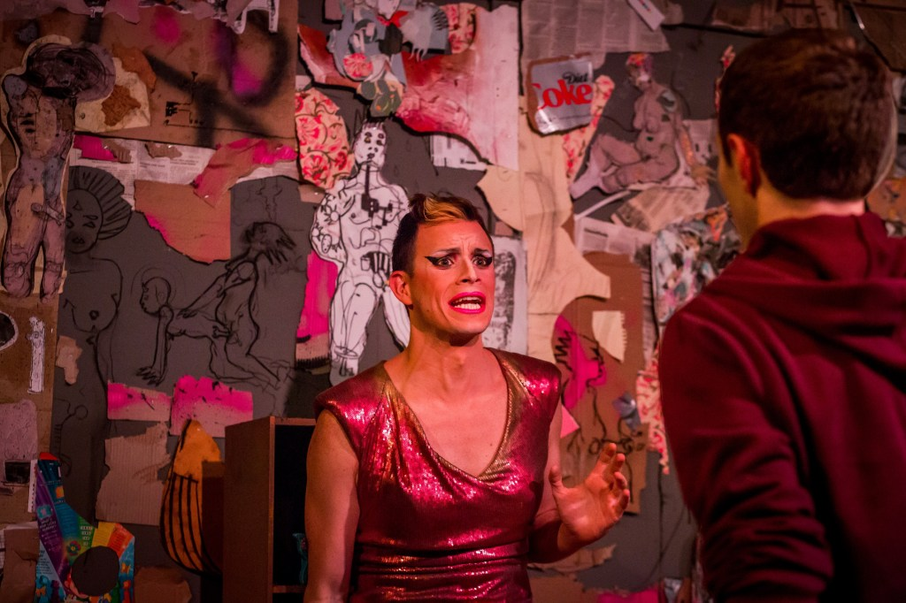 John Schultz as Lola & Joshua McLucas as Elliot in MERCURY FUR. Photo by