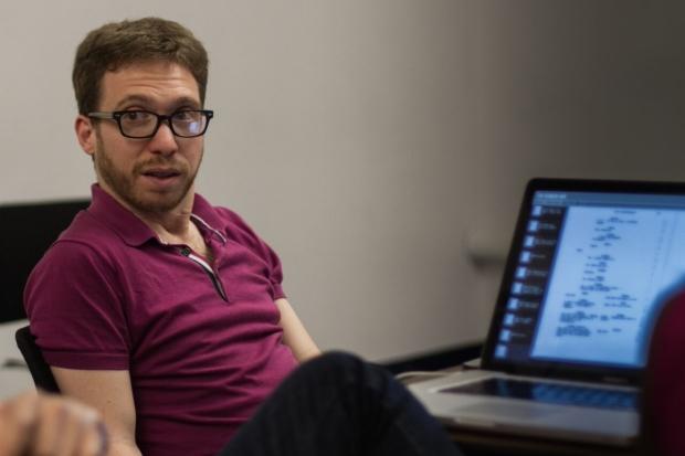 David Perlman at his computer, photo by John Racioppo