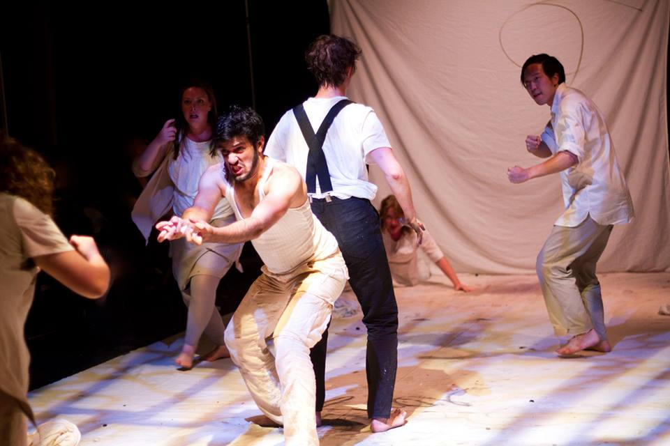 The ensemble (l to r: Amanda Jill Robinson, Megan Slater, Joseph Ahmed,  Hannah Van Sciver, Elizabeth Audley, and Richard Chan) of FIFTY DAYS AT ILIAM (Photo credit: Dave Sarrafian)T