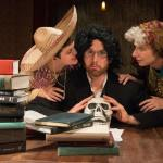 """IRC's ALL IN THE TIMING features Andrew Carroll, Jennifer MacMillan, and David Stanger as chimps in """"Words, Words, Words"""" (Photo credit: Johanna Austin @ AustinArt.org)"""