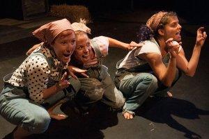 Tori Mittelman, Michelle Pauls, Sarah Knittel  in ANIMAL FARM. (Photo by John Allerheilegen)