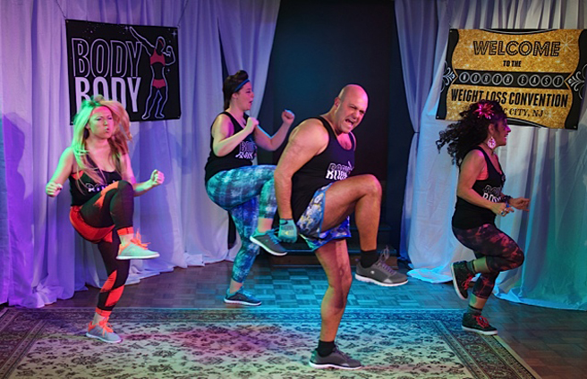 Meagan Robar, Liz Gerecitano, Chad Kessler, and Debra Toscano do a Zumba demonstration in MY BIG GAY ITALIAN MIDLIFE CRISIS (Photo credit: Rick Stockwell)