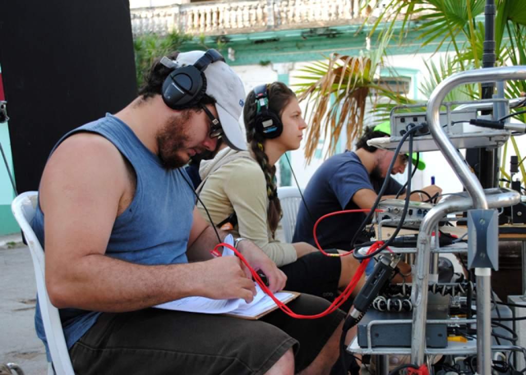 Students sound recording at the International School of Film and Television of San Antonio de los Baños,