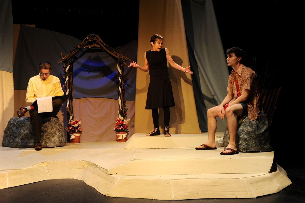 RJ Magee, Renee Richman-Weisband, and Arlen Hancock in Isis's TOO MUCH SUN (Photo credit: Kristine DiGrigoli)