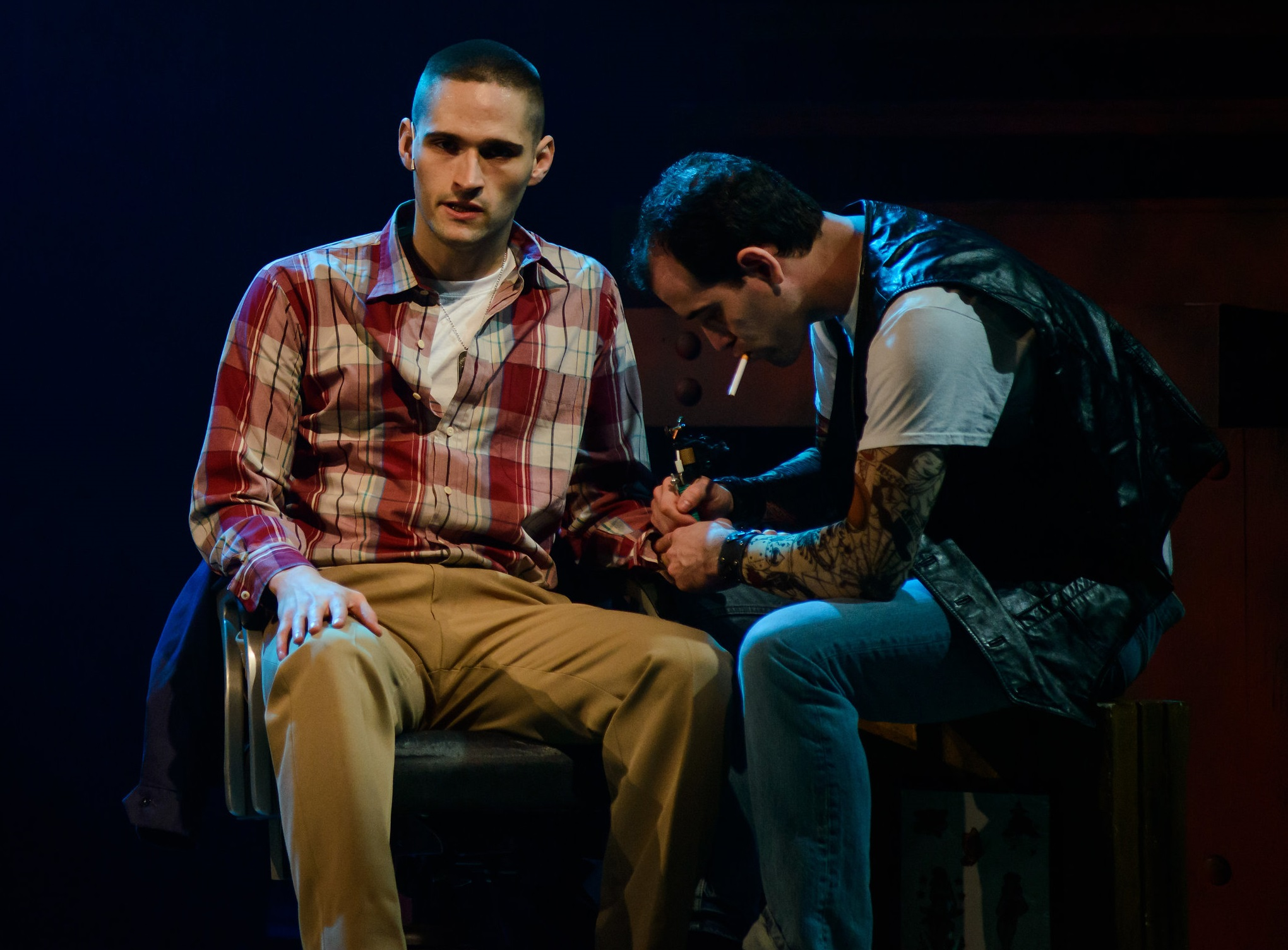 Kyle Segarra as Bernstein, JP Dunphy as rough Tattoo Artist in DOGFIGHT. Photo by Maura McConnell.