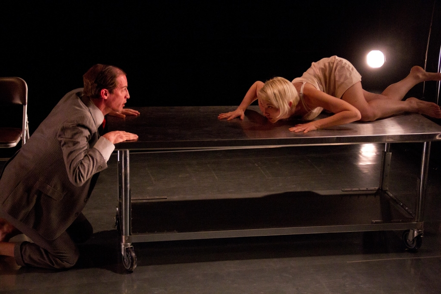 Ross Beschler and Mary Tuomanen in MACHINAL. (Photo by David Garrett Sarrafian)