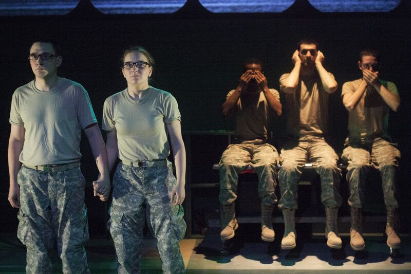 Johnny Smith, Campbell O'Hare (foreground), David Glover, David Pica, and Trevor Fayle (background) in Inis Nua's THE RADICALISATION OF BRADLEY MANNING (Photo credit: Katie Reing)