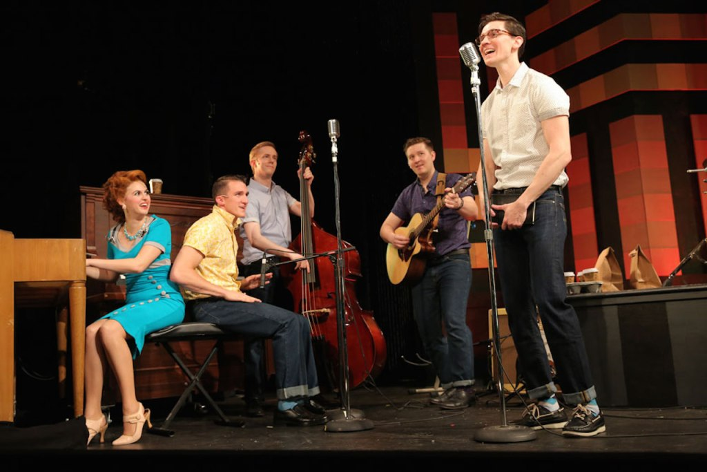 (L-R) Elizabeth Nestlerode, Zach Cossman, James David Larson, Maximillian Sangerman and John Dewey in BUDDY. (Photo by Joan Marcus)