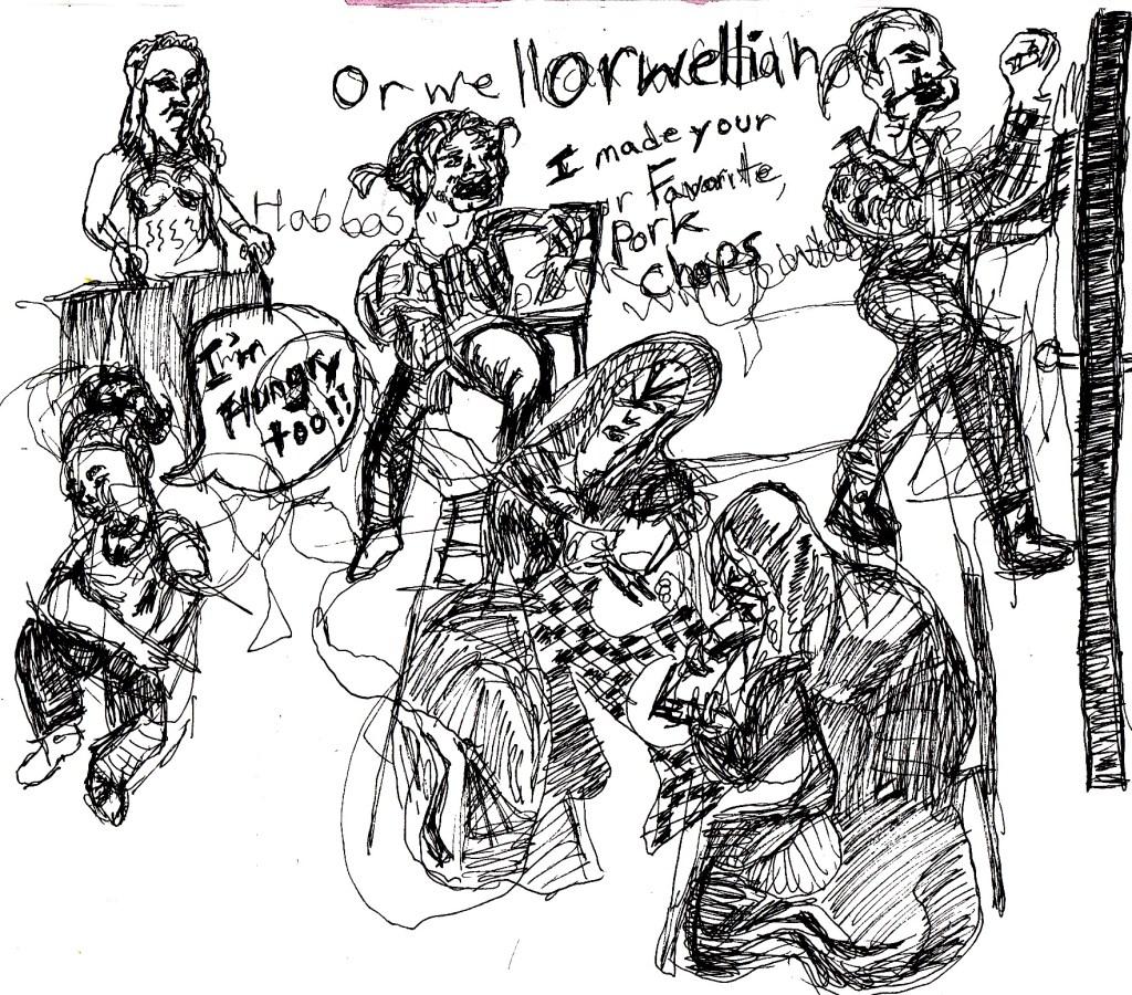 An unhappy marriage. Sketch by Chuck Schultz.