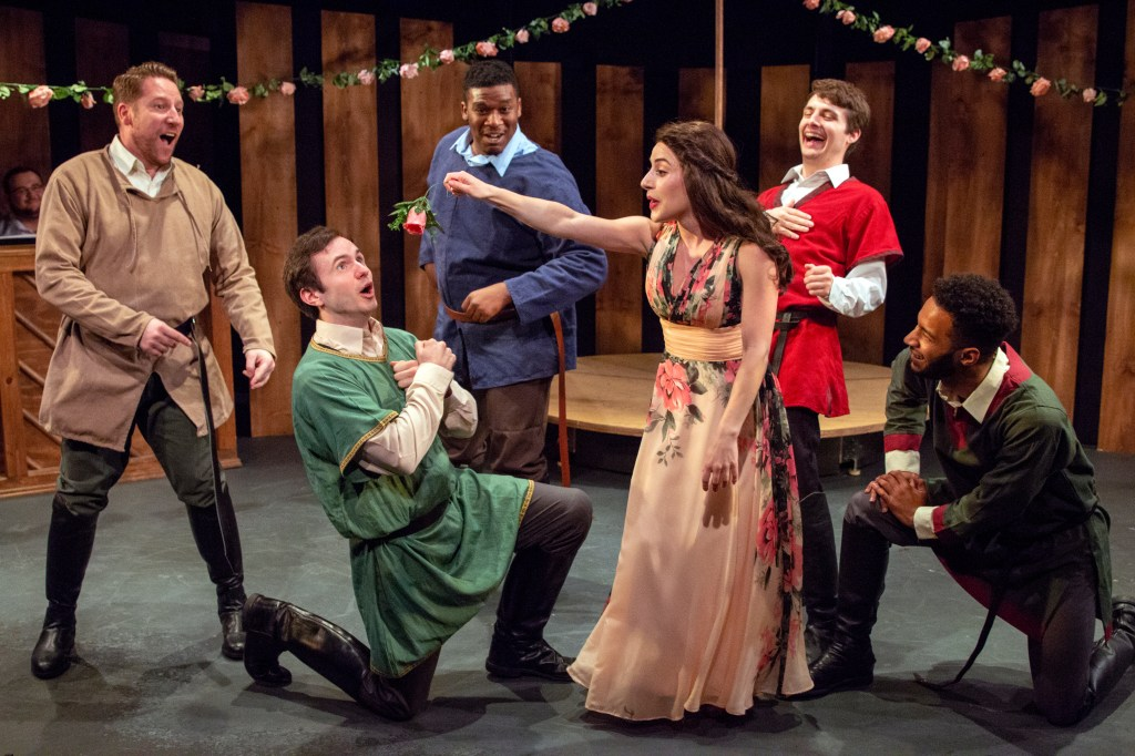 "Joey Abramowicz, Patrick Romano, Rajeer Alford, Eileen Cella, Luke Bradt, and Jordan Dobson sing ""The Lusty Month of May"" in Camelot, on stage at Act II Playhouse until June 24. Photo by Bill D'Agostino."