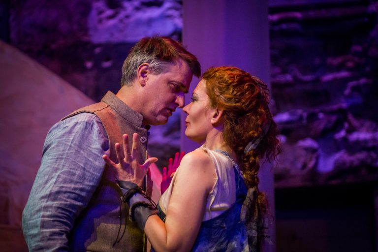 Jared Reed as Jason and Jennifer Summerfield as Medea in Hedgerow Theatre's production of Medea. Photo by Ashley Smith of Wide Eyed Studios
