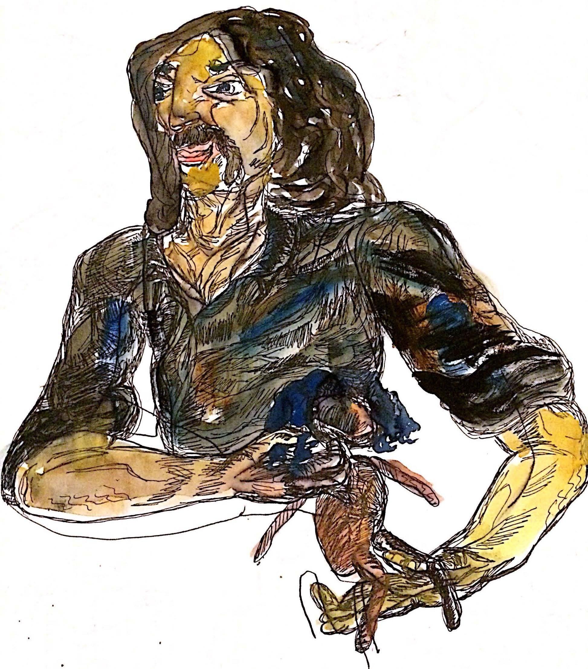 Aiello and a puppet. Sketch by Chuck Schultz.