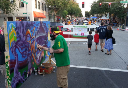 Graffiti artists demonstrate their talent near the intersection of 85th and Greenwood.