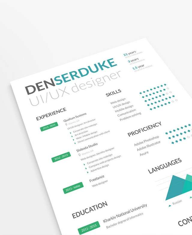 10 Creative Resume Free PSD Templates - Phire Base