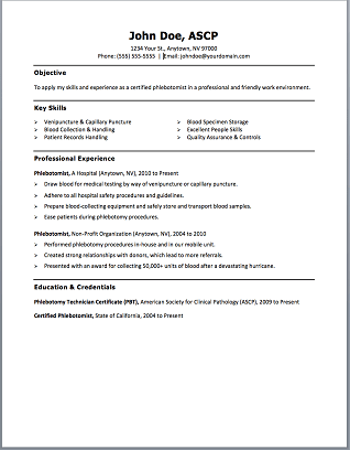 phlebotomy resume no experience resume ideas