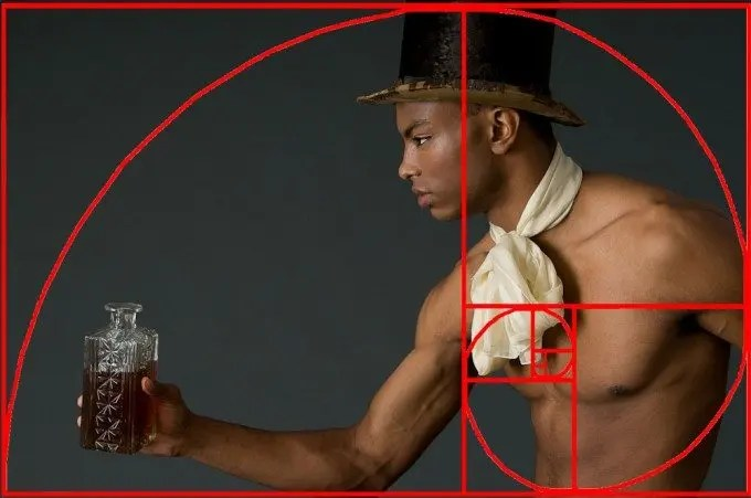 Careful composition for a cognac ad using the Golden Spiral