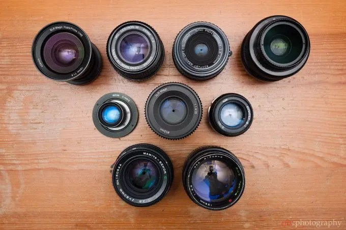 Various lenses with different physical and relative aperture sizes.