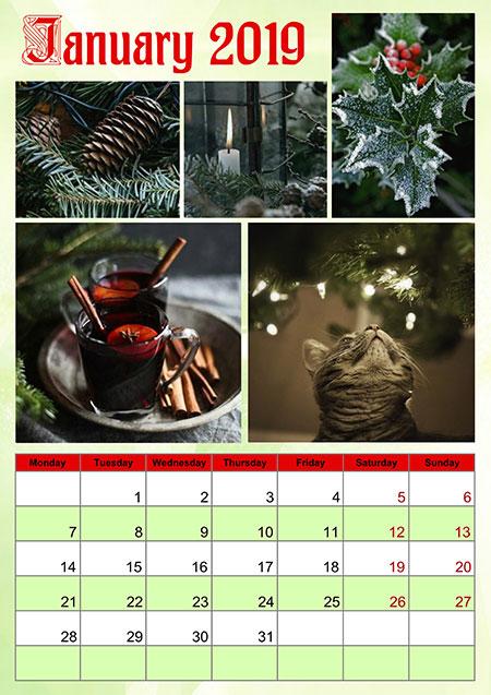2019 Photo Calendar Examples - Annual, Monthly, Lunar Calendars
