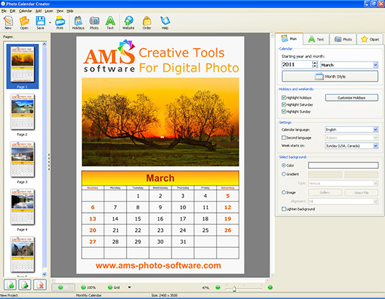 Promotional Calendars for 2018 - create a picture calender