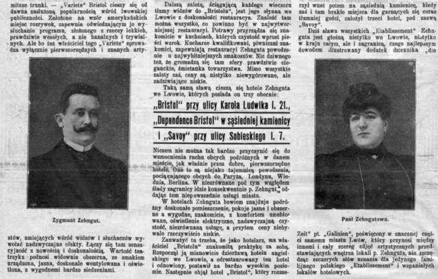 """Власник """"Брістолю"""" із дружиною, стаття з преси, поч. XX ст."""