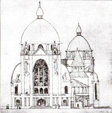 Костел Св. Анни. Конкурсний проект В. Ґжимальського. Фасад, 1911 р.