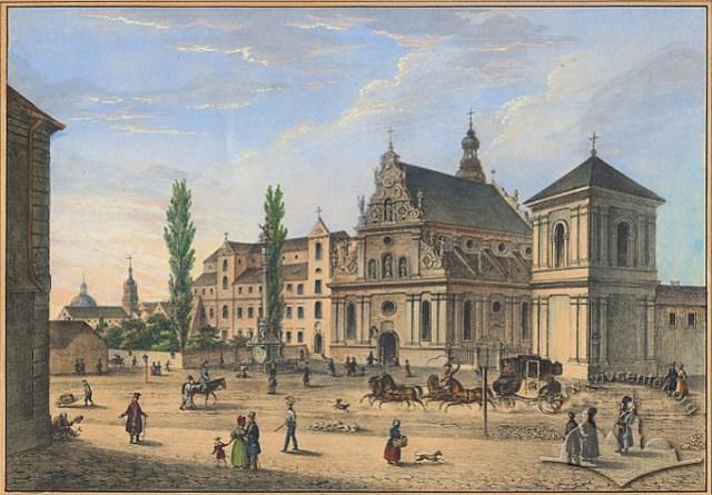 """Літографія Карла Ауера """"Бернардинський костел і монастир"""" (тепер церква св. Андрія)(1837-1838)"""