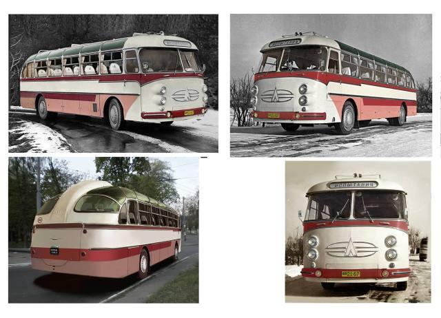 1960 рік, один з прототипів великого міжміського автобуса 669А з новим дизайном передка на 4 фари.