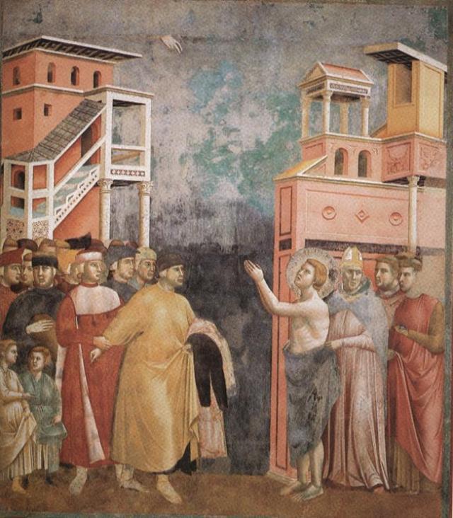 Франциск Ассизький відмовляється від майна, Джотто, фреска на стіні церкви Сан-Франческо в Ассизі
