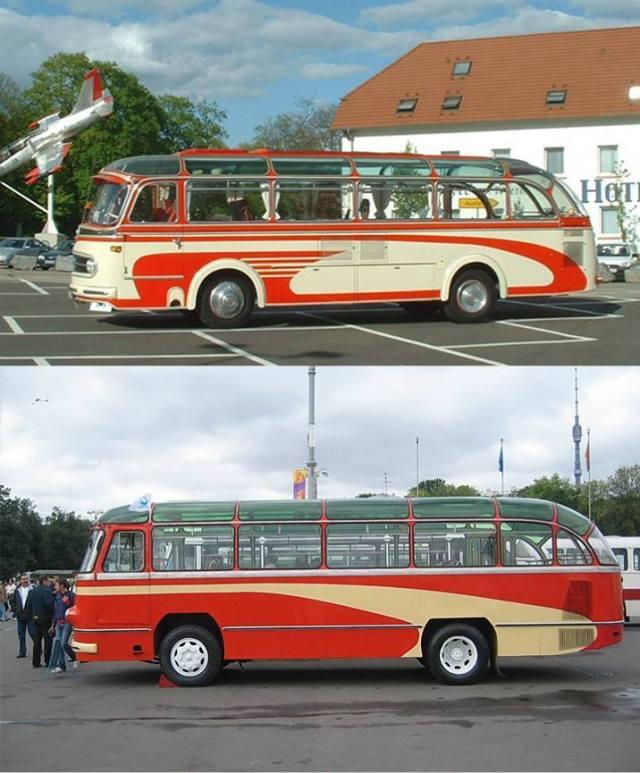 Mercedes-Benz-0321 (вгорі) та ЛАЗ 695 (внизу)