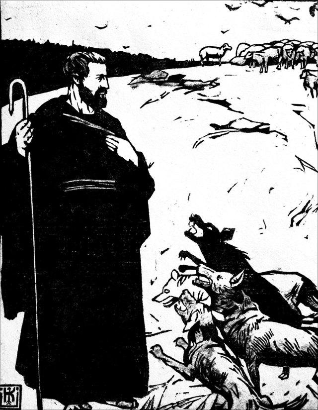 Пастир і вовки. 1916р. Папір, лінорит.