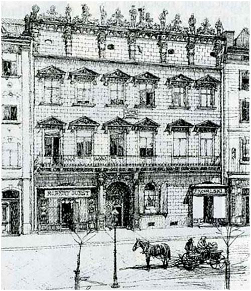 Палац Корнякта у м. Львів. Малюнок Ф. Оманна, 1895.