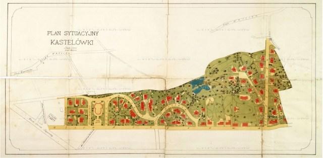 Проект плану забудови Кастелівки з позначенням на ньому усіх 64 вілл, які планувалося тут звести. Проект 1889 року